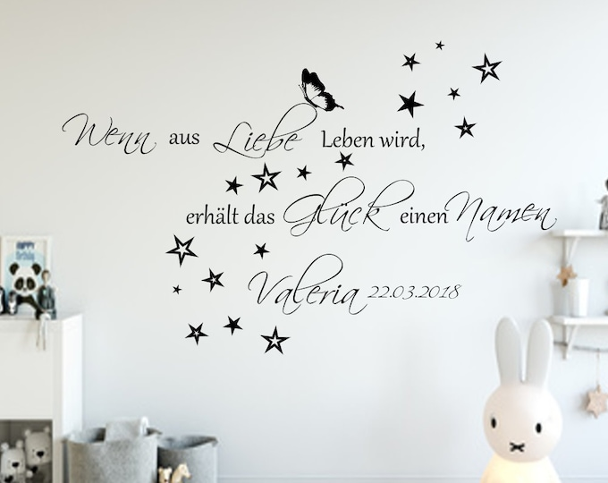 Wall Decal Nursery ++ When for love life gets happiness gets a name wall sticker baby roomdate and name++ Boy,Girl
