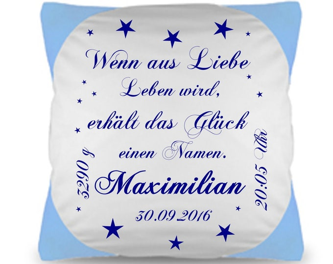 Baby pillow printed with saying and individual name and date gift to birth boy