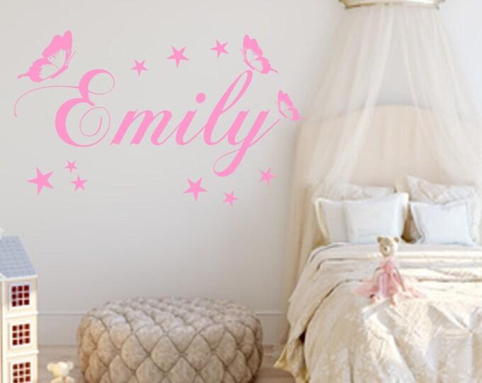 Wall decal nursery name sticker butterflies stars girls boys