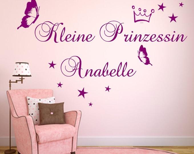 Wall Tattoo Princess+Name Nursery Crown Girl Wall Sticker Saying WallTatoo