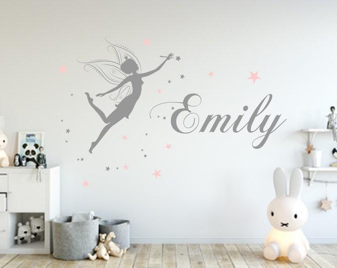 Name Wish Names Wall Decal with Fairy Girl Nursery