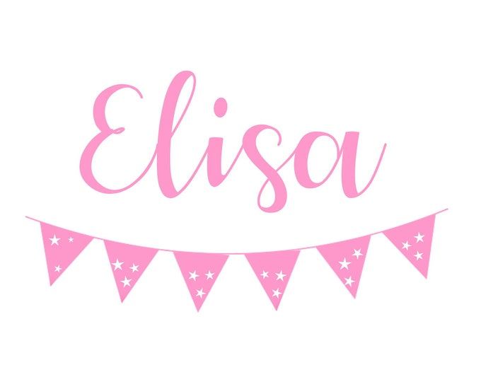 Wall Decal Children's Room Stickers Names Personalized Pennant Banner Set Girls Boy Children's Room MANY COLORS