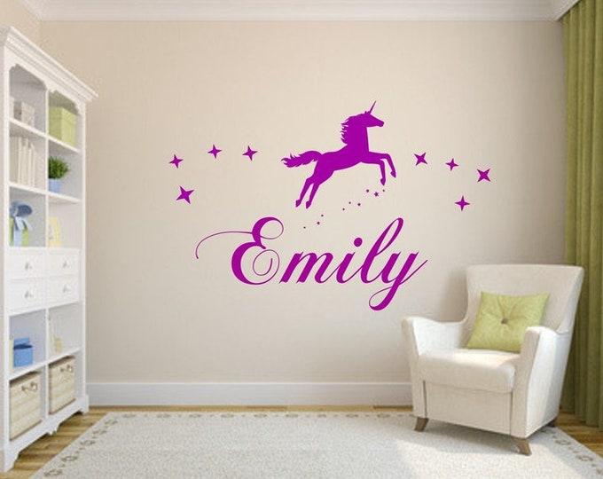 Name wall decal with EINHORN and stars nursery girl boys