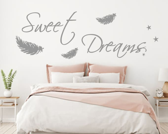 Wall decal SWEET DREAMS bedroom wall saying feathers stars sticker AA092 wall tattoo