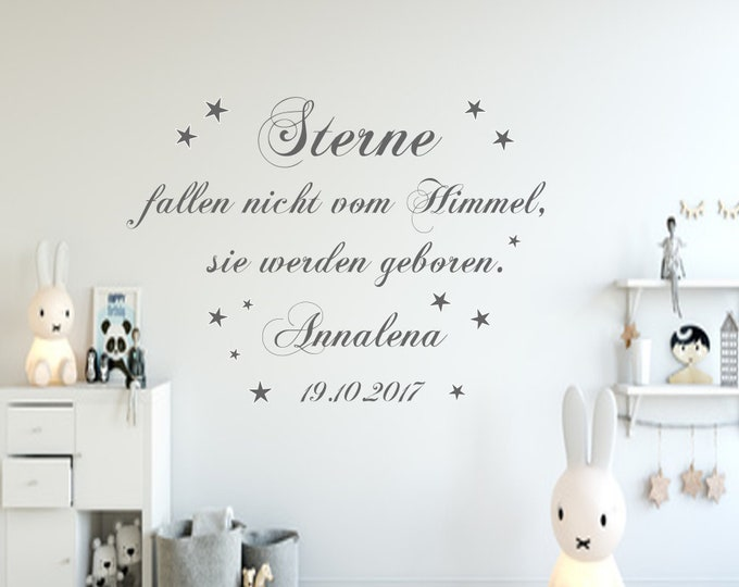 Wall Tattoo Saying AA185 with Name++Stars Don't Fall From Heaven Baby Room Nursery Girl Boys