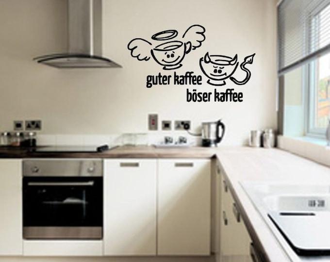 Wall decal wall sticker kitchen Good coffee bad coffee