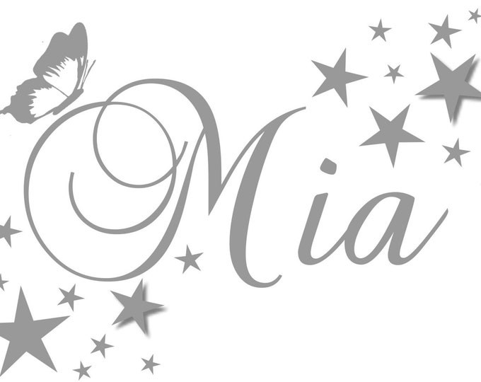 Wall Decal Nursery with Name Stickers Personalized Nursery +Butterfly Stars Set Girl Boy MANY COLORS