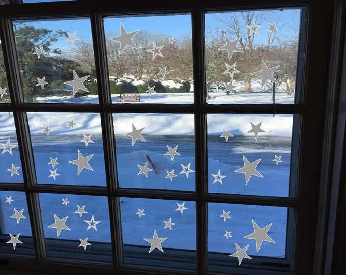 50 Star Stickers for Window Walls Cards Furniture Gifts Christmas Self Adhesive Stars Christmas Stickers