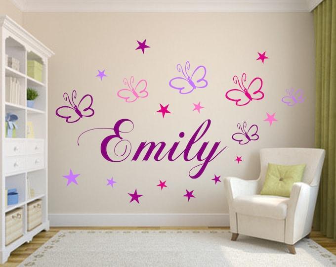 Wall sticker with name Children's Room 19 Butterflies- Stars Purple Mix or Blue Mix Girls' Room Boys Wall Sticker Vinyl Wall Art