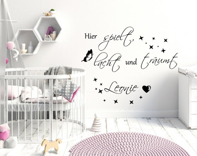 Nursery Wall Tattoo Here plays laughs and dreams.  AA468 Wall Stickers with NAMES Girls Boys Baby Room