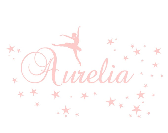 Wall tattoo ballerina dancer with name and 40 star girl nursery wall decal