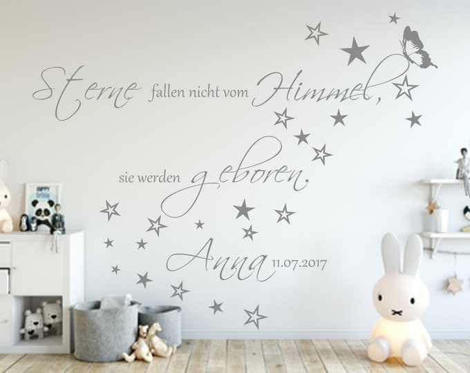 Wall Tattoo AA138 Baby Saying NAMES Date Stars Don't Fall From Heaven They're Born Baby Room