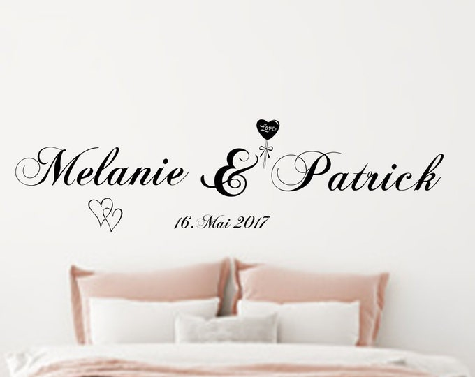 Wall Sticker Wall Decal Two Names Pair Wall Stickers Bedroom Living Room Personalized Wall Sticker Wall Decal AA411
