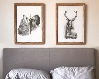 Bull Skull Girl Boho Art Print