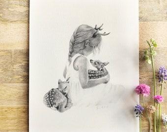 Boho Fawn Deer Child Nursery Illustration