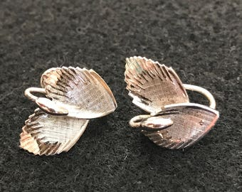Vintage TK Signed Sterling Leaf Earrings