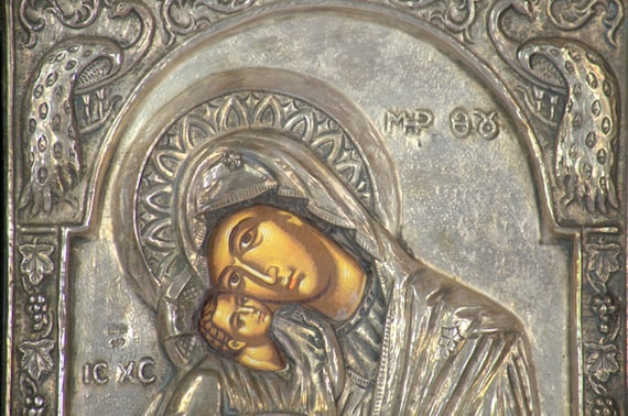 Image result for Madonna, a Byzantine icon covered with silver in 1788.