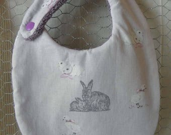 Bib made of fabric with bunnies and ducklings for babies from birth to 12 months