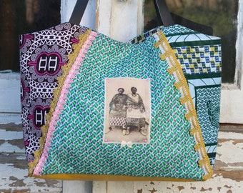 80406b0e27 Sac à main toiles wax multicolores, transfert vintage femmes africaine,  strass métal rose, noeud satin écru, passementerie