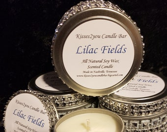 4oz Lilac Fields Scented Soy Wax Glam Candle (2 Candles)