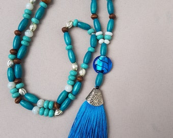 bead and tassel necklace