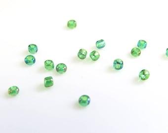 10 g fine leaf green 2 mm seed beads translucent