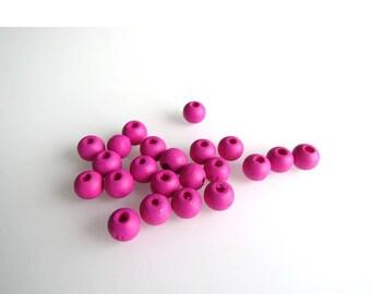 Pink 8 mm X 20 G, wood beads set