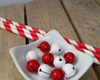10 pcs 13mm white and Red bells Jingle Bell
