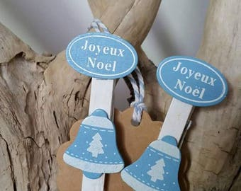 2 x Christmas Bell clip clothes