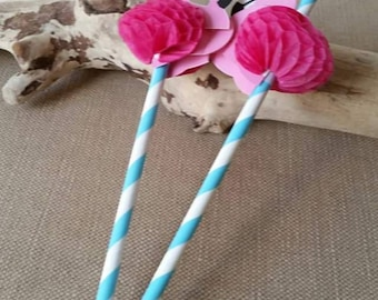 X 5 pink flaming straws, for table decoration, birthday party