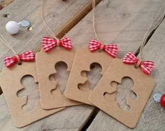 Set of 5 kraft tags with gingerbread man Tags Christmas gift