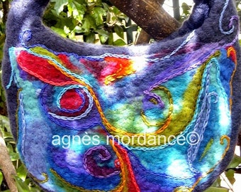 "Bohemian bag, felted wool, embroidery handmade, unique, ""Aquarius"""