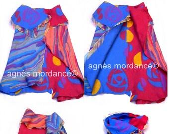 """CLEARANCE silk, deconstructed reversible vest, blue, red, unique, """"Scherzo"""""""