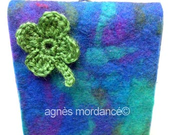 Notebook cover in felted wool, OOAK