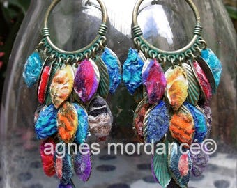 "Felted silk multicolored ""gypsy"" - unique earrings"