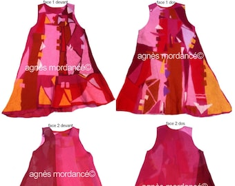 """Dress graphic, felt, wool felt, reversible, unique, """"The girl in the afternoon"""""""