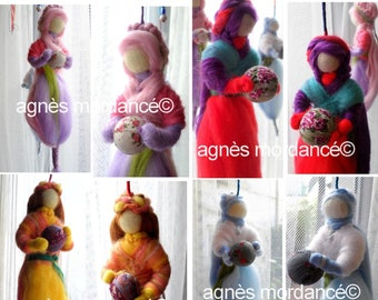 ON order only, mobile felted wool doll, OOAK