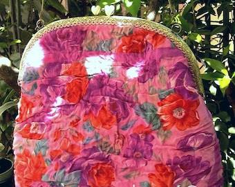 589e12e9ad73 Sac soie rose, soie feutrée mérinos, fermoir bronze, pièce unique,