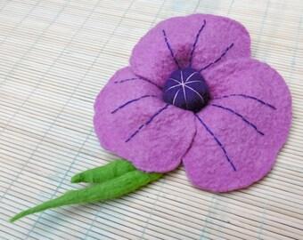 Purple, flower brooch felted, Merino Wool, OOAK