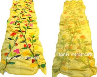 Big shawl silk 190 X 60 cm felted silk chiffon, unique piece