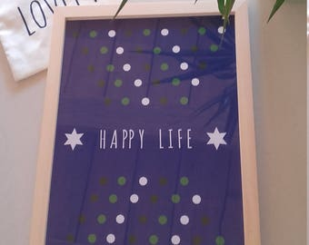 "Poster A4 size - deco trend zen and modern ""HAPPY LIFE"""