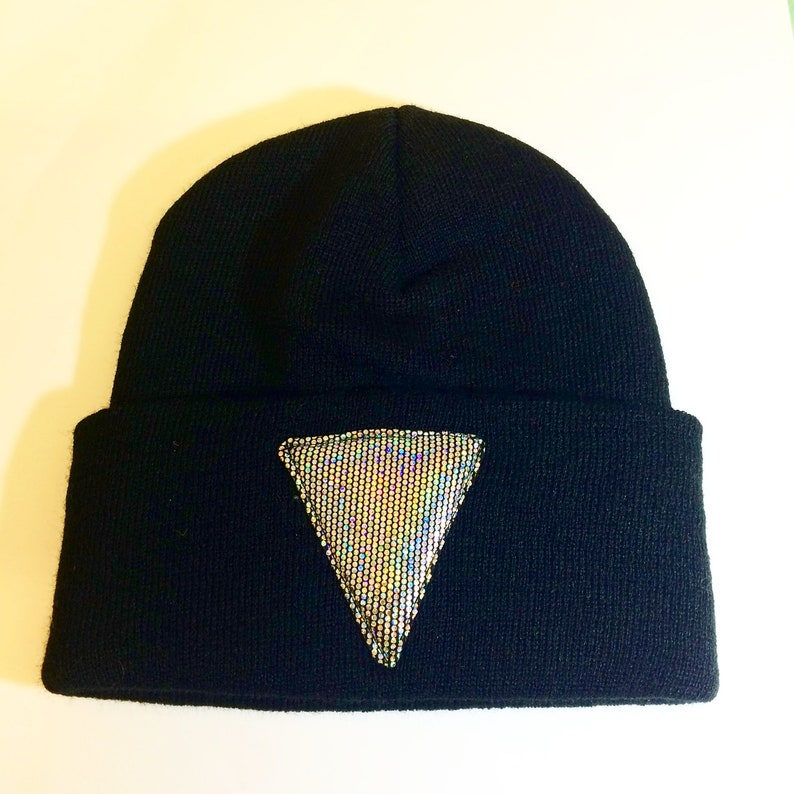 7f9db9f3727 Holographic Triangle Toque Winter Beanie Skull Cap