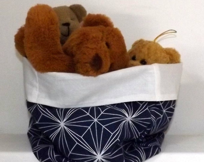 Large reversible blue and white storage fabric basket toys, towel, interior storage