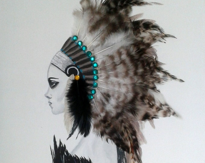 Funky contemporary portrait woman painting black and white, Indian and his headdress, feathers, design, portrait, modern decoration, gift idea
