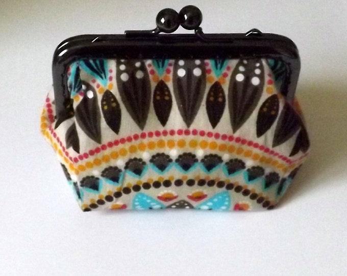 Black cloth printed turquoise Brown metal clasp coin purse, handmade, unique, original gift idea, purse