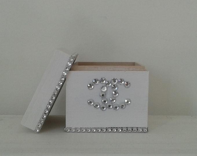 Box for storage, Chanel, decoration, rhinestone, romantic, white spirit, handmade decor gift idea, gift idea, couture style, cc