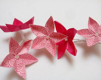 string light made of 20 origami flowers