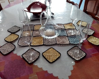 Multicolored table path 54 CM X 32 CM and 9 under 11X11 CM crocheted with new cotton