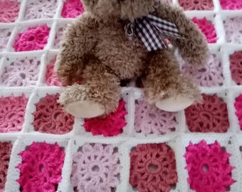Baby blanket made with different pink and white wool 64 cm x 47 cm about new