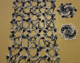 RECTANGLE DOILY MITIGATES BLUE AND WHITE CROCHET - NEW - HANDMADE